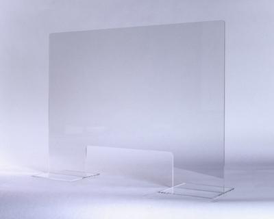Spuckschutz 900 x 900 mm, Dicke 5 mm, fixe geklebte Füsse